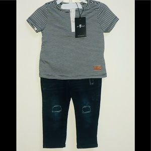 7 For All Mankind Boy's Jeans Set T-shirt
